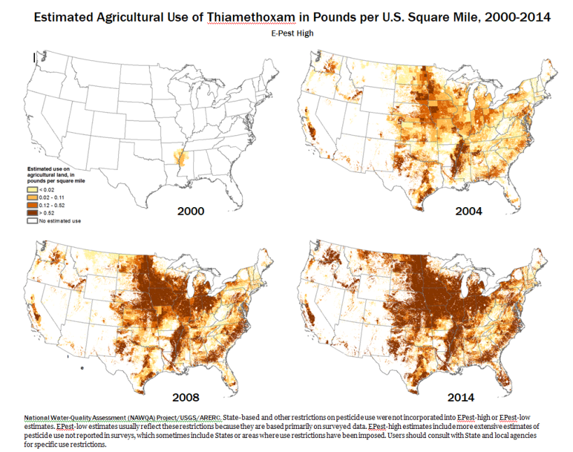 Map Thiamethoxam U.S. Use 2000-2014